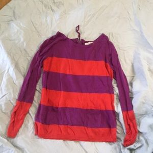 Loft red and purple zip tunic long sleeve. S